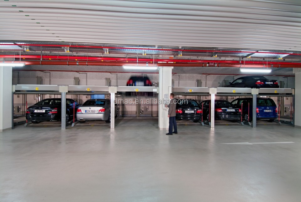 Two levels double deck parking car lift/ large parking system for ...