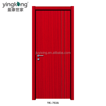 YK853A High quality main interior wood door /gate fashion red color designs for home
