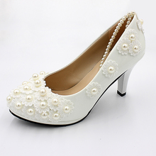 High Quality White 8cm Heel Height Women Wedding Shoes