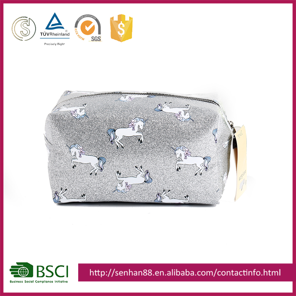 Eco-friendly wholesale white Support Custom colors Glitter cartoon pouch high quality hanging cosmetic makeup bag