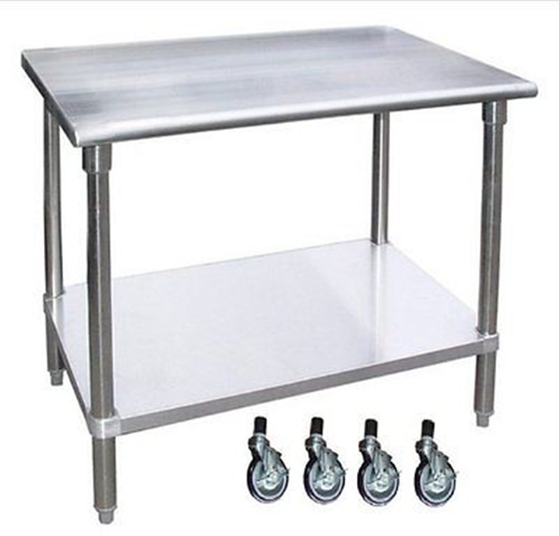 Commercial Kitchen Equipment Stainless Steel Workbench With 4 Wheels ...