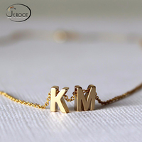 Custom 24K Gold Plated Charm Letter Chain Necklace Pendant