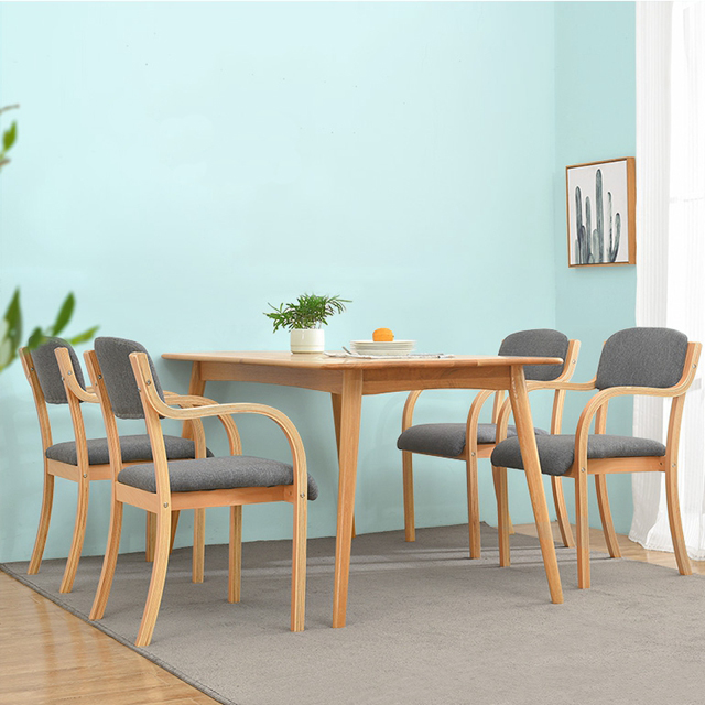 Wholesale Home Furniture Relax Restaurant Coffee Stackable Fabric Cover Solid Wood Dining Chair