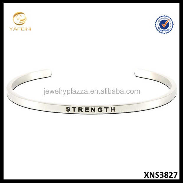 925 Sterling Silver Jewelry Wholesale 'Strength' Message Stackable Bangle