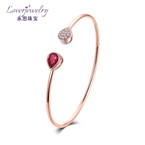 Solid Gold Bangle With Ruby Gemstone,18k Yellow Gold Diamond Ruby Gemstone Bangle Bracelet Jewelry Wholesaler