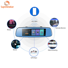 "Newst Car DVR 4G 8"" Touch Screen Remote Monitor Rear View Mirror Camera Dual Lens GPS Navigation1080P WIFI Dash cam"