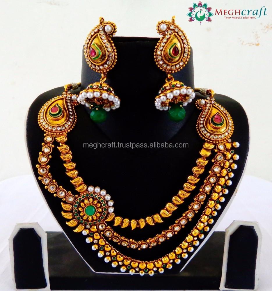 94db6210c6 Wholesale one gram gold pearl jewellery-South Indian rani haar set-3 layer  bridal jewellery-imitation jewelry