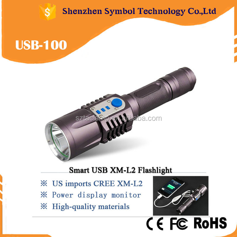 High brightness 3800 lumen XM-L2 flashlight USB micro charge flashlight rechargeable led tactical flashlight