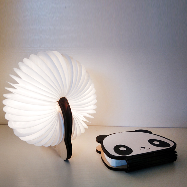 Creative gift 360 빛 접는 책 lamp mini panda kids led 밤 빛