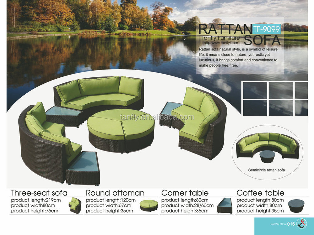 High Quality Patio Outdoor Garden Semi-circle Sectio<em></em>nal Half Moon Rattan Sofas Sets with Coffee Table