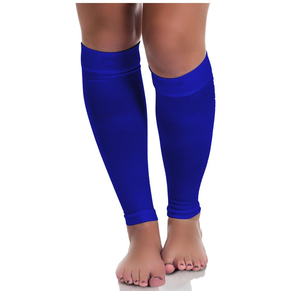 Calf Compression Sleeves (Small, Royal Blue), Pair, 2 Pcs, Running Socks, Leg Support Braces, Women & Men, Premium Quality Breathable Nylon/spandex, 20 ~ 30mmhg, Prevents Shin Splints, Reduces & Relieves Pain in Legs & Calves From Jogging, Training, Crossfit, Basketball, Cycling, Exercise