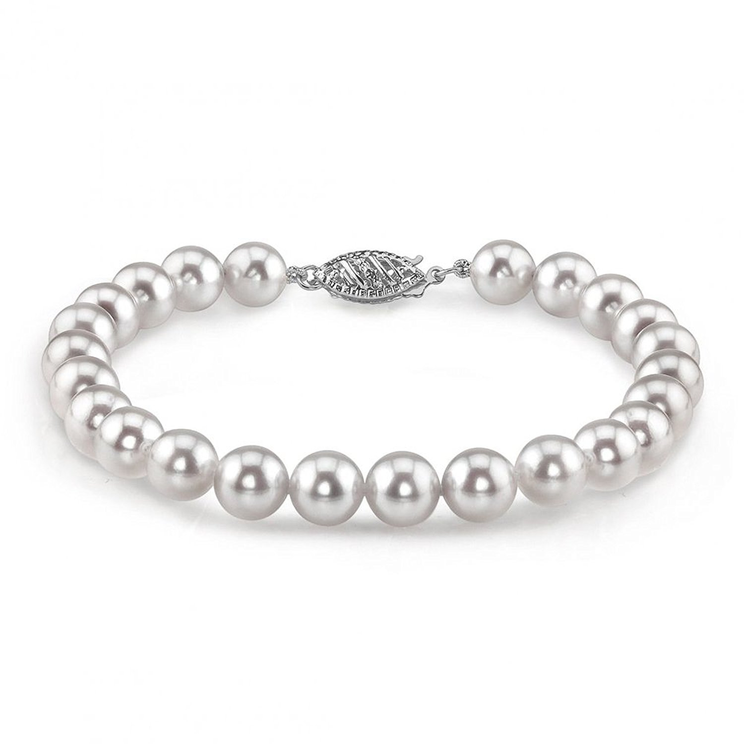 The Pearl Source 14K Gold 5.5-6.0mm Japanese Akoya Saltwater White Cultured Pearl Bracelet