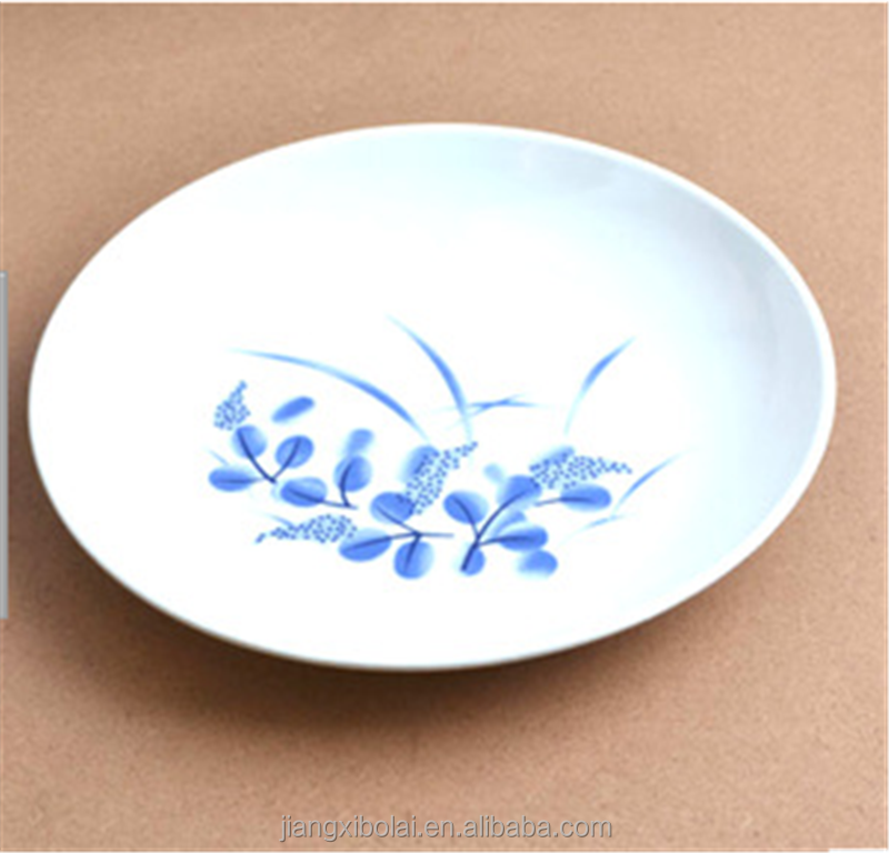 2016 Round plastic melamine plate for seafood, fruit,dessert