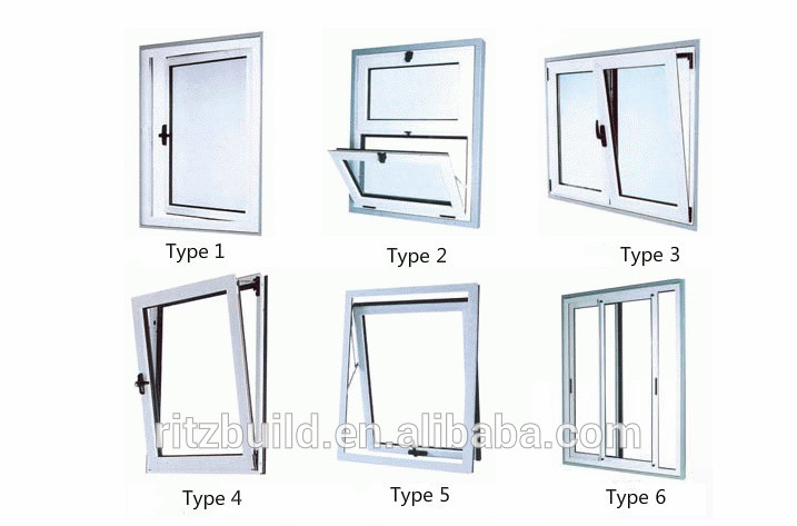 Pvc Glass Window Aluminium Bathroom Window Designs