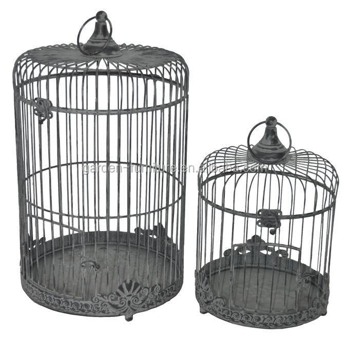 Handmade Garden Decor Round Victorian Style Vintage Set Of 2 Bird Cages Decorative Metal