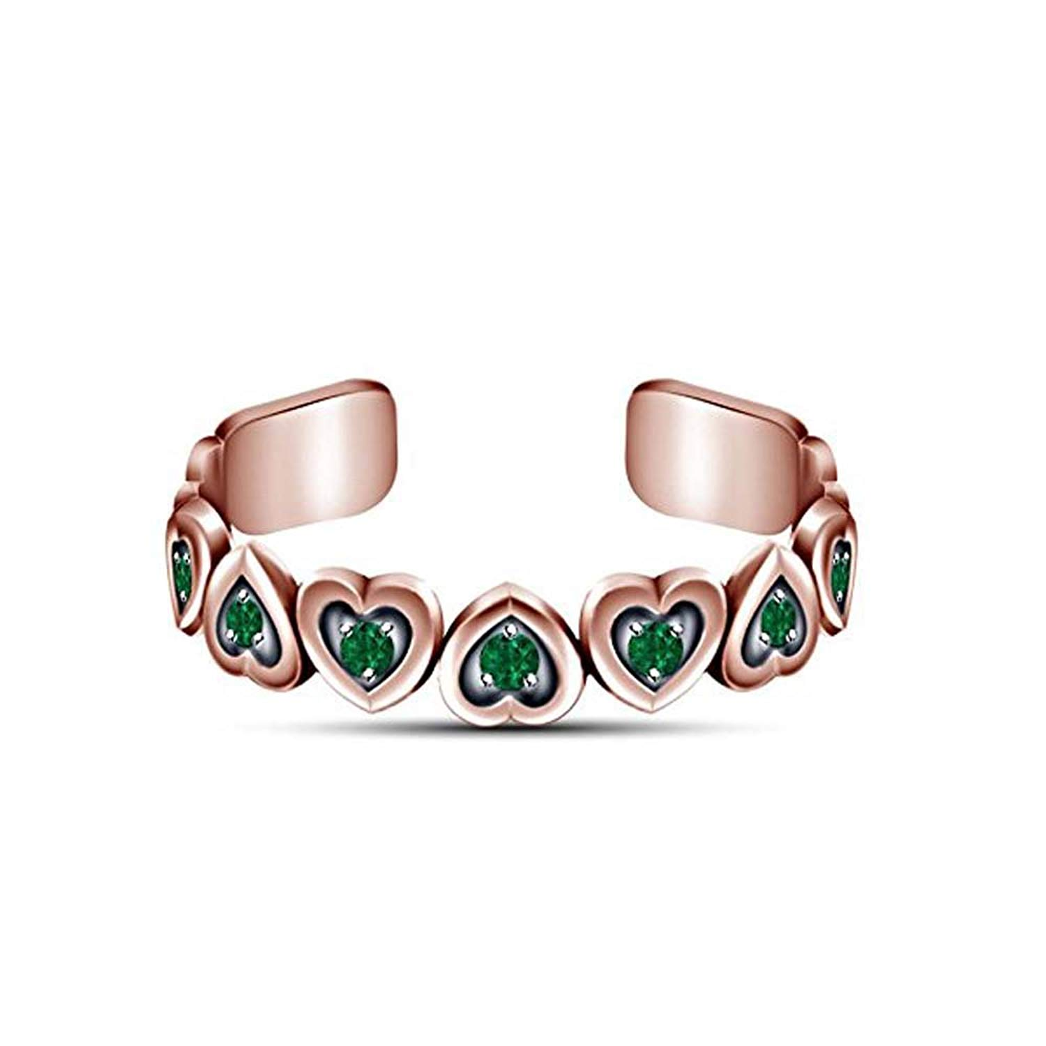 Green Emerald 14k Rose Gold Over .925 Silver Adjustable Womens Heart Toe Ring Jewelry & Watches