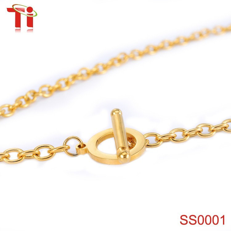 316l stainless steel fashion jewellery necklace, simple gold ...