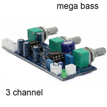 Mega bass amplificador circuito board/filtro de paso bajo placa/single power supply 2.1 3 canal amplificador de audio 22 hz- 300 hz