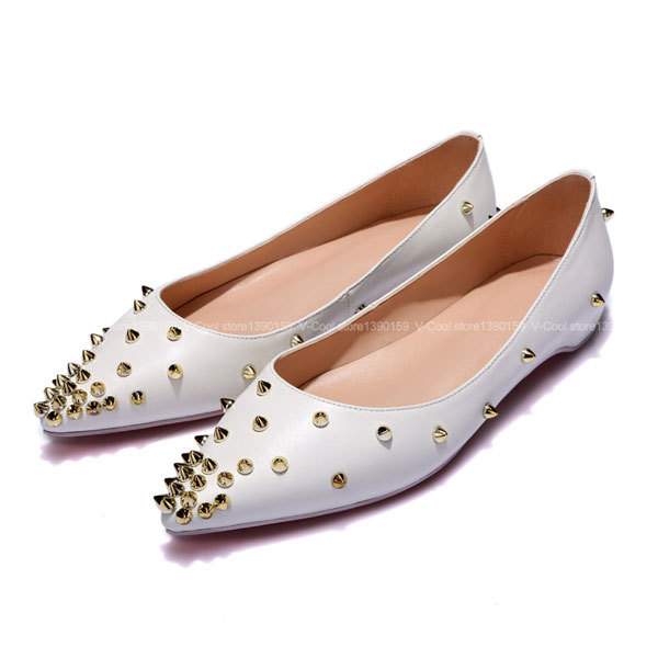 7dfdfd17bbc386 Get Quotations · 2015 Plus Size 40 Women Elegant Flats Woman Footwear Womens  Genuine Leather Shoes Woman Rivets Red