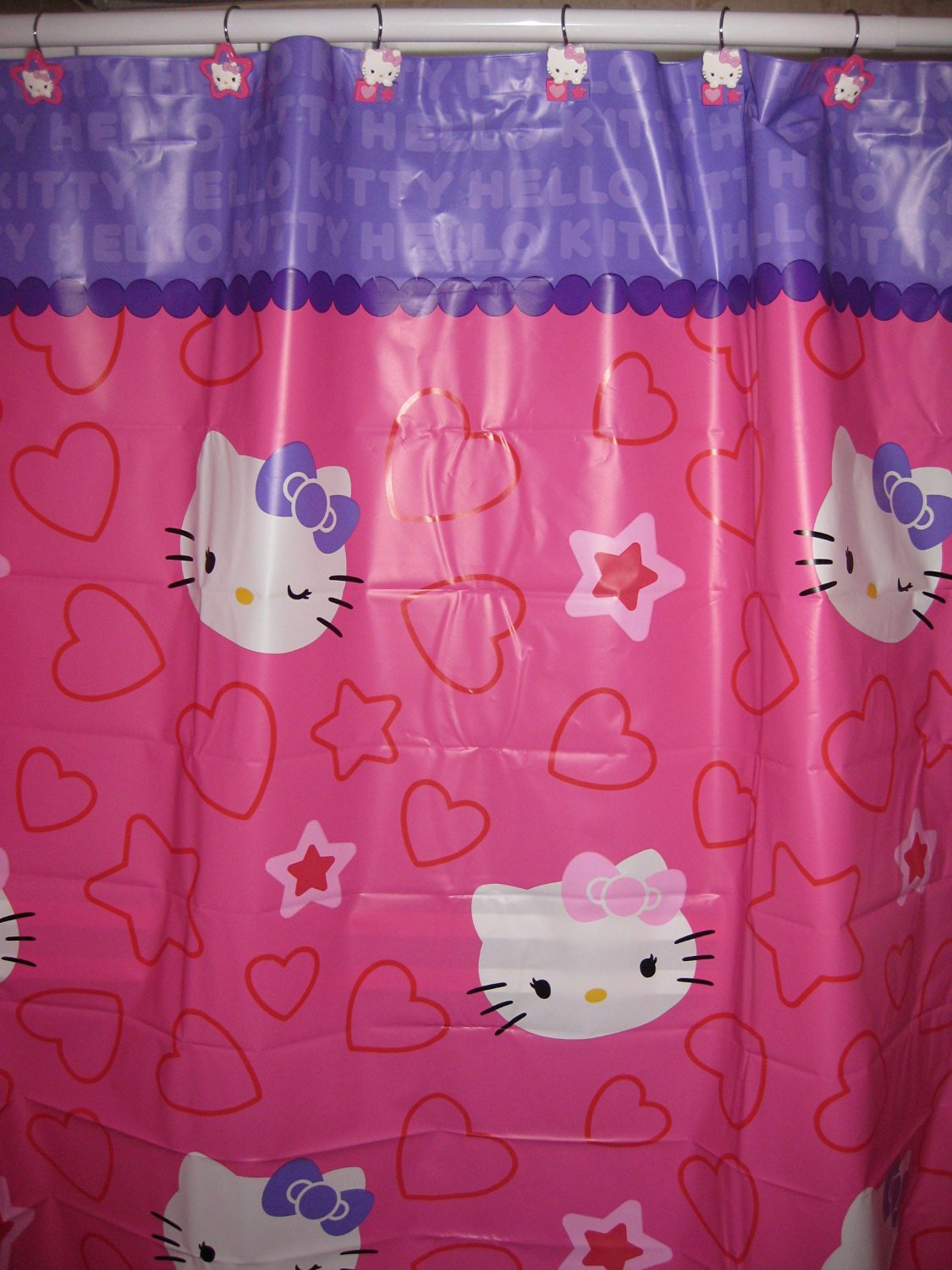 Hello Kitty Shower Curtain Hooks Peva 70x72in Pink