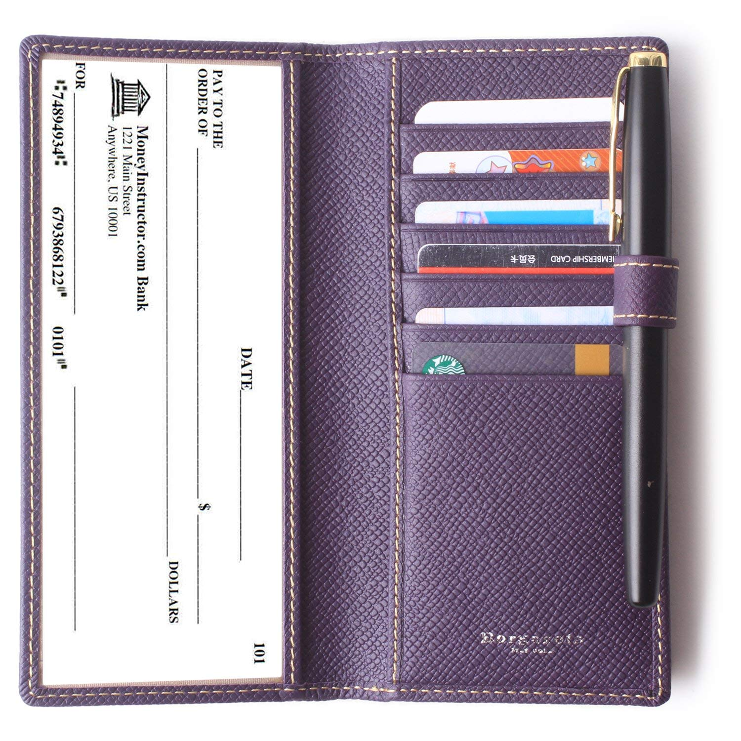 Leather Checkbook Cover For Men Women Checkbook Covers with Card Holder Wallet