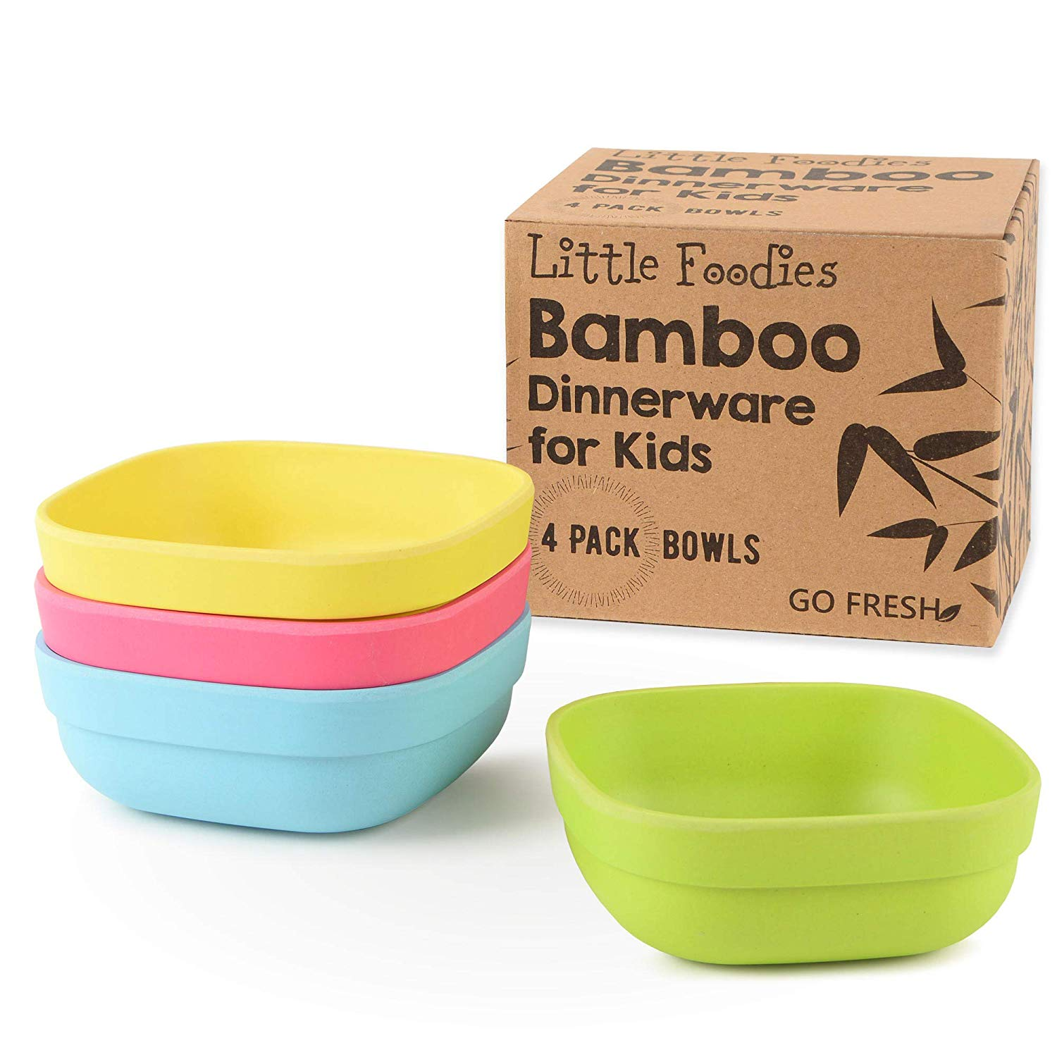GO FRESH Bamboo Kids Bowls, Set of 4 kids bamboo dinnerware for everyday use, Eco-friendly kids bamboo bowls, BPA Free, Dishwasher safe and Stackable