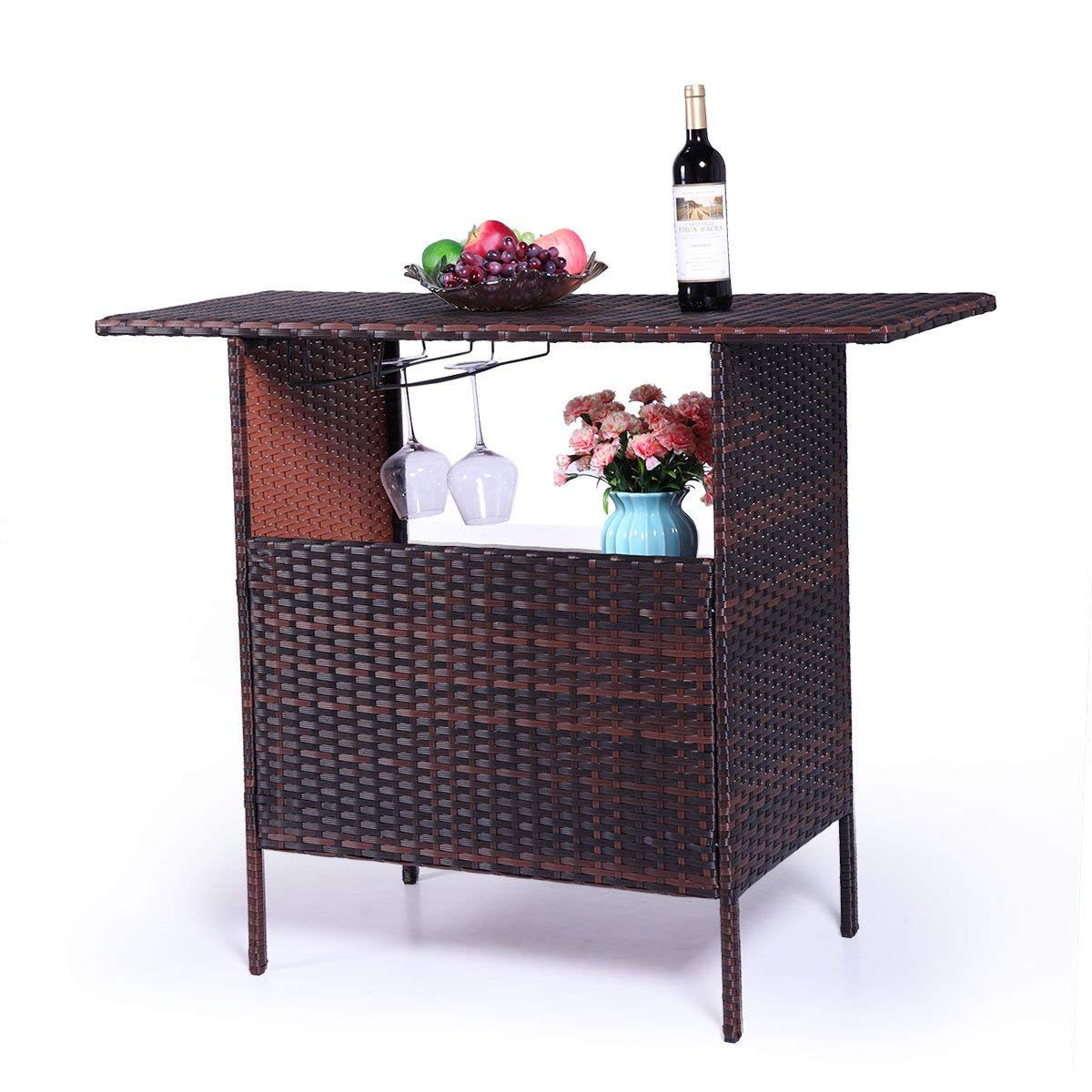 Lpha' Table Serving Outdoor Patio Rattan Wicker Bar Counter outdoor living space, such as patio, garden, backyard, lawn and pool side Table W/2 Steel Shelves Garden Patio