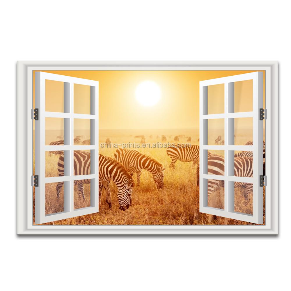 3d Window Scenery Canvas Painting Zebra Photo Canvas Art Home Wall ...