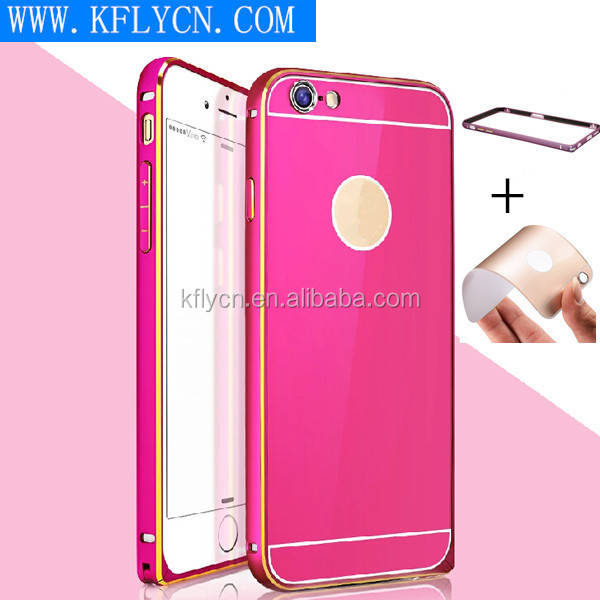 new fashion aluminum metal bumper+pc hard back cover cases for iphone 6 plus 5.5 inch