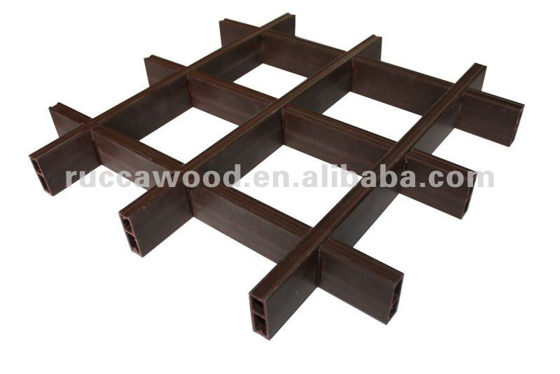 Rucca Modern designs Wood PVC Composite Grid Ceiling for House interior decoration 100*100mm China Building Material