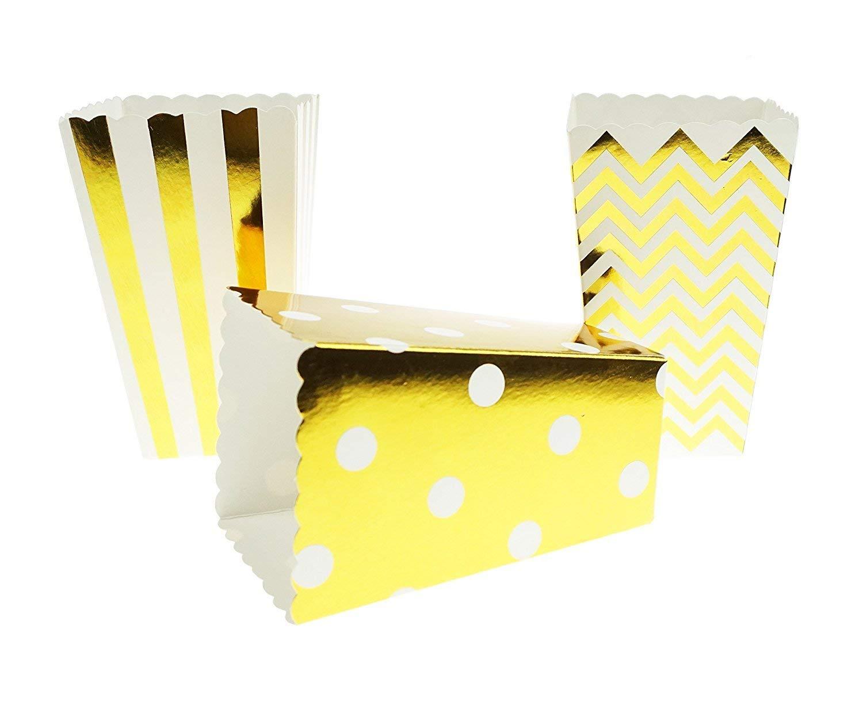 Bilipala Chevron Stripe and Polka Dot Paper Movie Popcorn Favor Boxes, 24 Counts, Gold