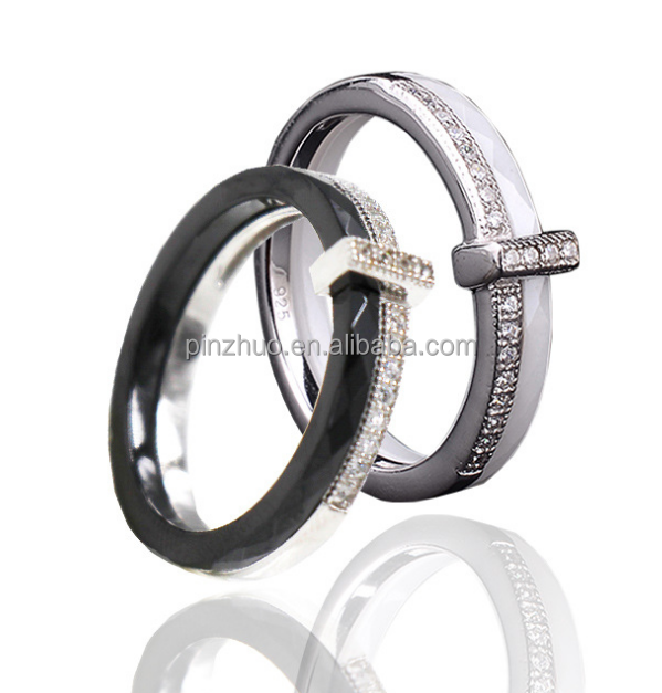 925 sterling silver black and white ceramic micro diamond rings jewelry