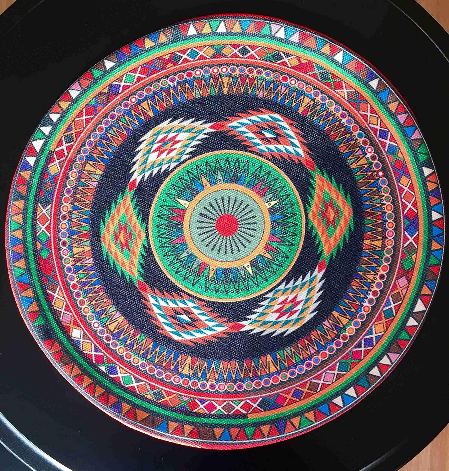 "TekgulDesign Egypt Placemats,%100 Polyester, Handmade, Diameter: 35cm (14""), Crease Resistant and Stain-Proof Fabric, Modern and Colorful Ultra HD Graphics."