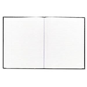 Blueline Large Executive Notebook w/Cover, College/Margin, Letter, Black Cover, 75 Sheet