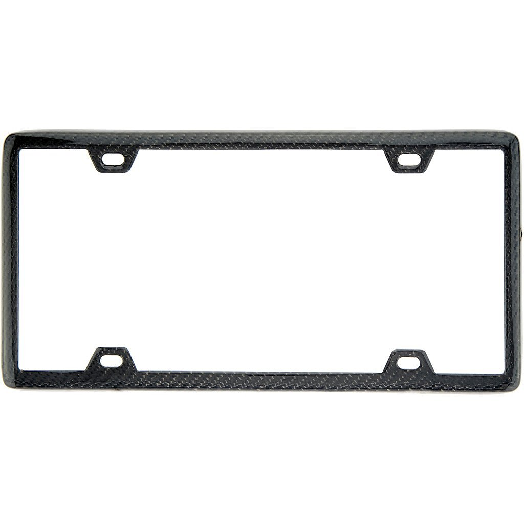 100% Real Black Carbon Fiber License Plate Frame Slim 4 Holes With Matching Screw Caps - 1 Frame