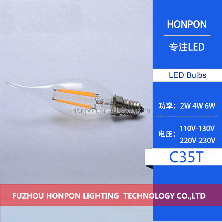 E12 E14 LED Candle Light 4W Edison filament AC110V / 220V LED Lamp C35T LED <strong>bulb</strong> warm white / white