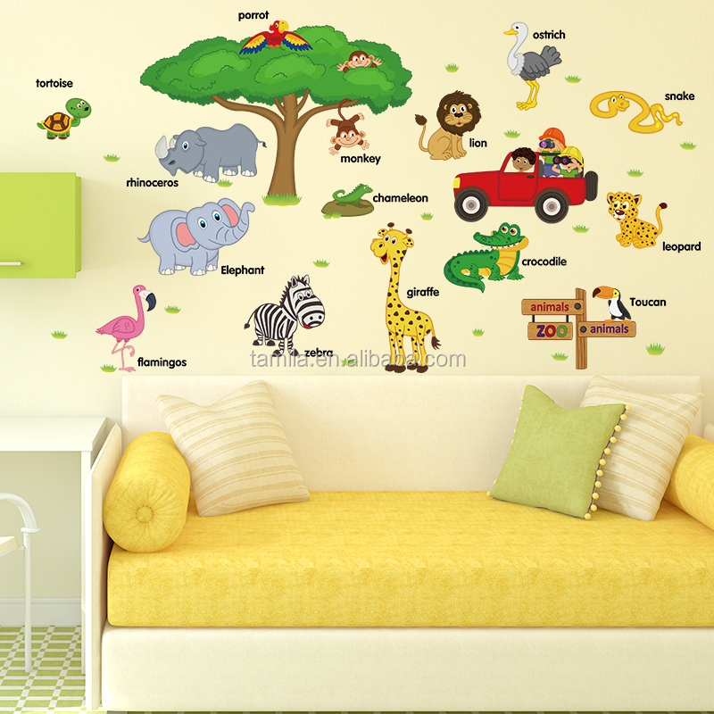 jungle for t animaux sticker sticker mural pour enfants. Black Bedroom Furniture Sets. Home Design Ideas