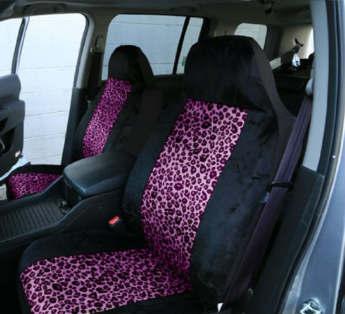 Leopard Car Seat CoversAirbag Compatible And Split Bench2 Tone Purple
