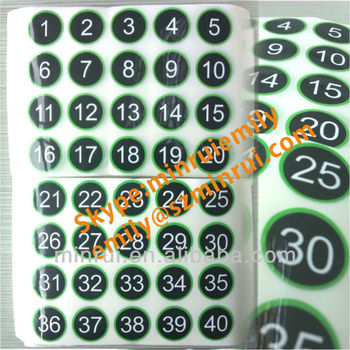 Custom vinyl number stickersserial adhesive numbered stickersround number stickers with gloss lamination