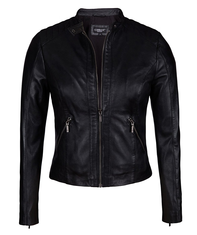Corbani Womens Black Leather Moto Jacket from Soft Genuine Lambskin Leather (Small, Black)