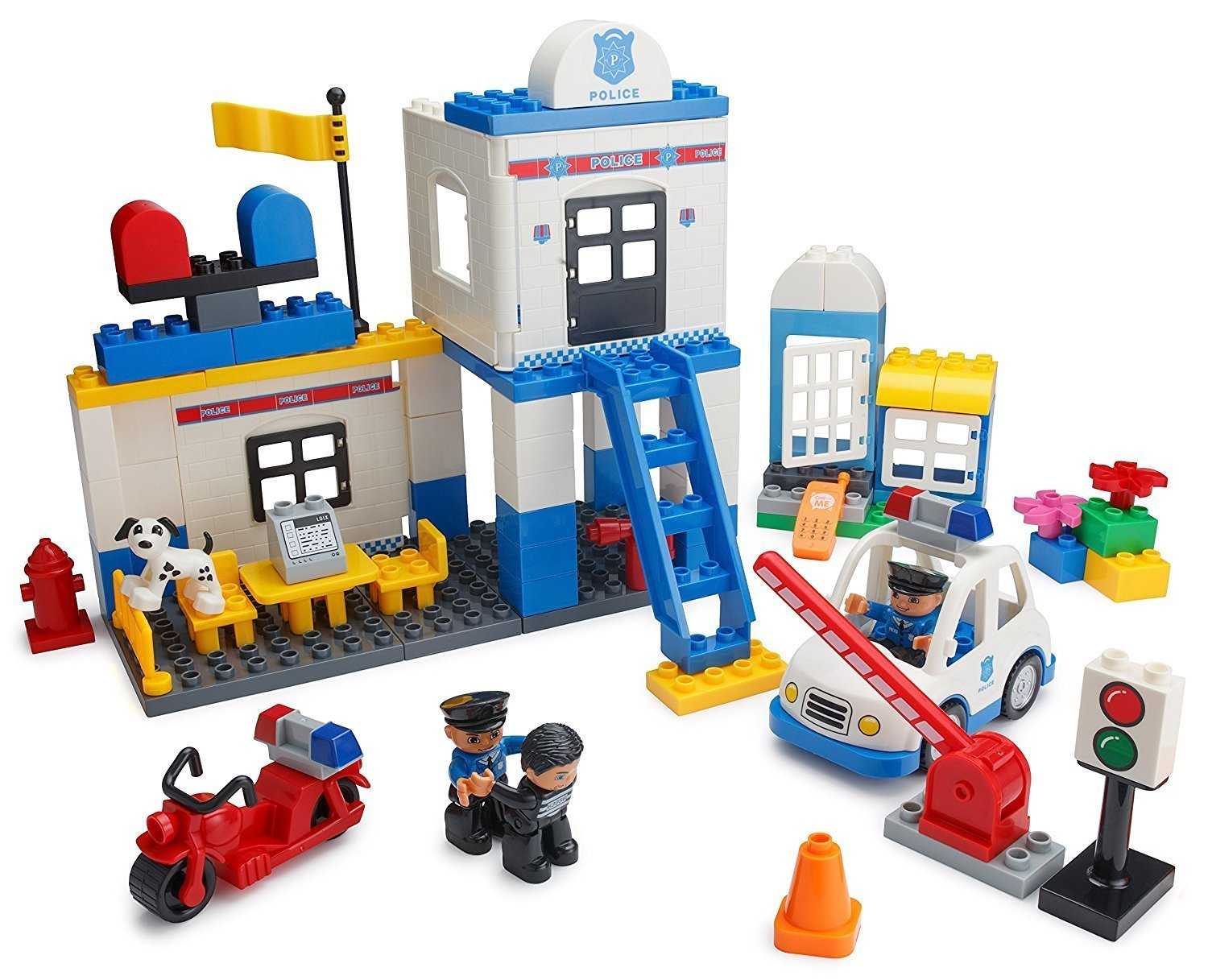 Play Build Police Station Building Blocks Set – 95 Pieces – Includes Police Department, Car, Motorcycle, Jail Cell, Police Officer & Robber Minifigures, Dog & Accessories