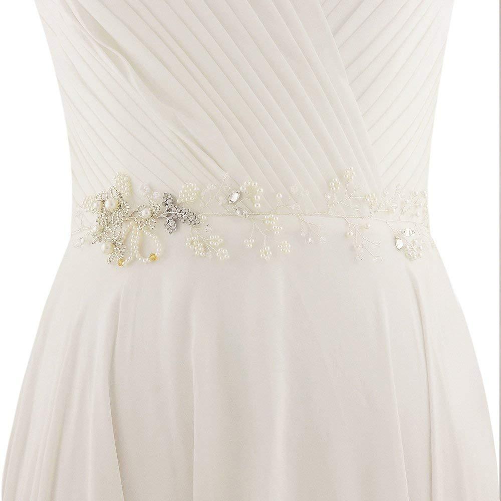 ULAPAN Wedding Belt Pearls Wedding Sash Rhinestones Thin Bridal Sash Bridal Belt,SH07