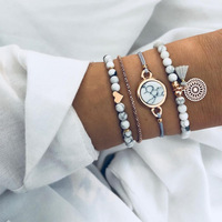Bead stone Bracelet set stack watch Mix Turtle Heart Pearl Wave Crystal Marble Charm Boho Tassel Bracelet Jewelry Wholesale