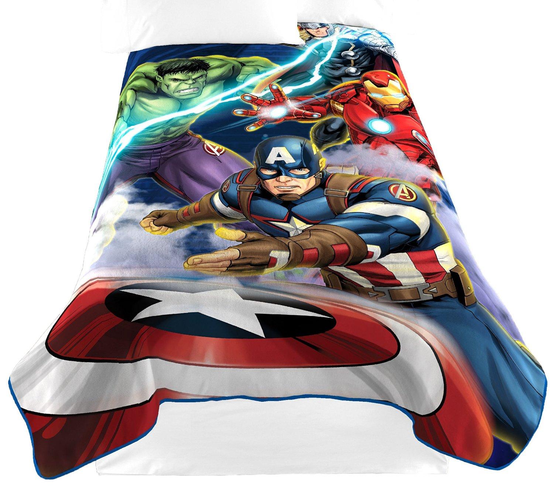 "Marvel Avengers 'Blue Circle' Fleece Plush Blanket, 62"" x 90""/Twin"