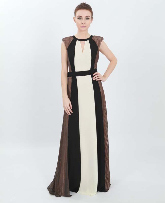 Bibiq New Designer Dress Round Neck Color Block Evening Dress Long ...