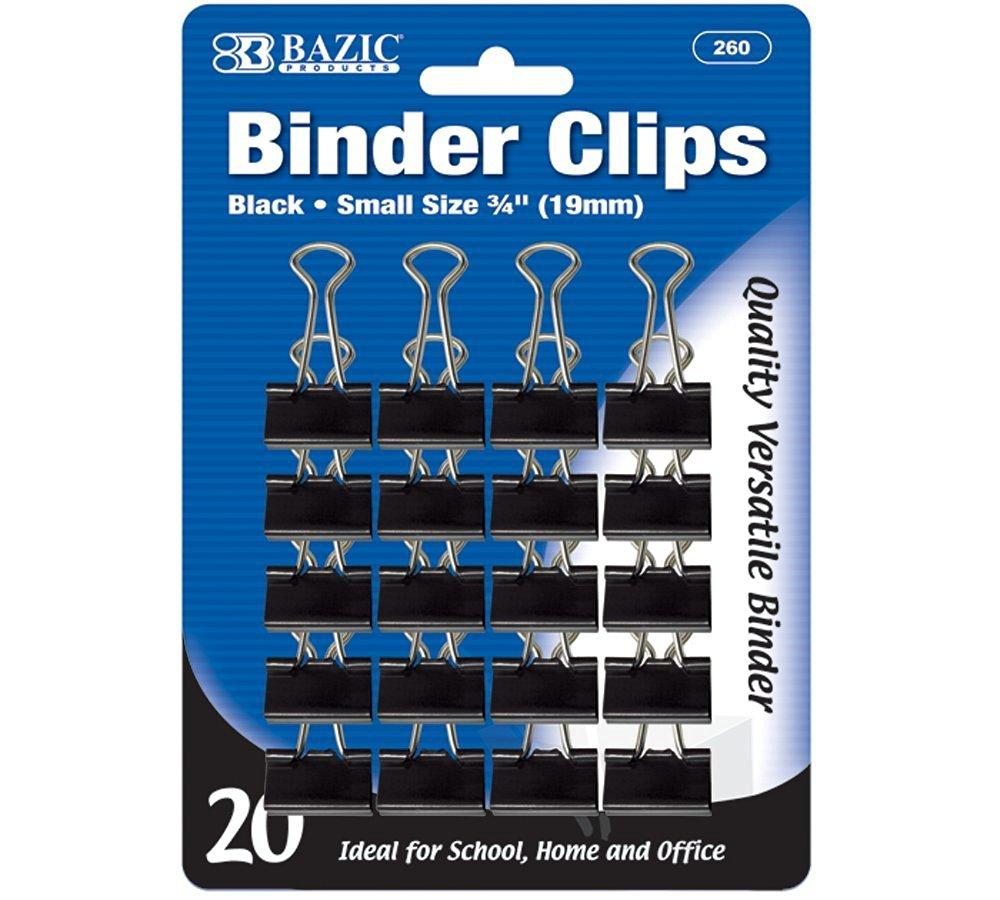 "BAZIC Small 3/4"" (19mm) Black Binder Clip (20/Pack)"
