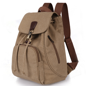 custom men canvas vintage school bags for teenage male travel backpacks bags with leather