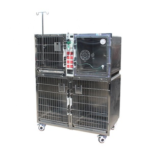 Stainless steel veterinary cage in animal clinic Inpatient oxygen chamber cage power supply
