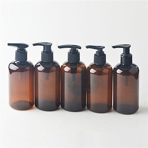 250 ml amber blue plastic shampoo bath foam pump bottle