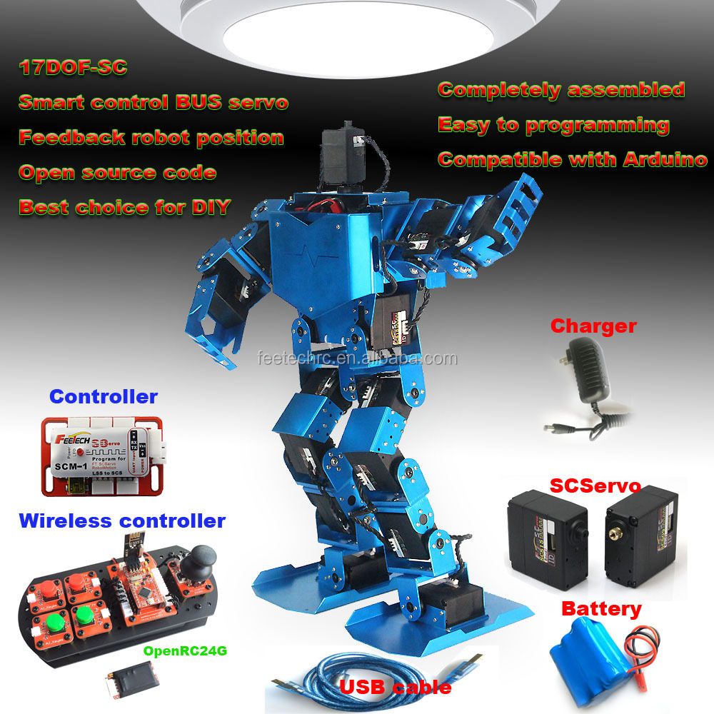 Feetech 17 DOF Professional assembly kit walking biped robot